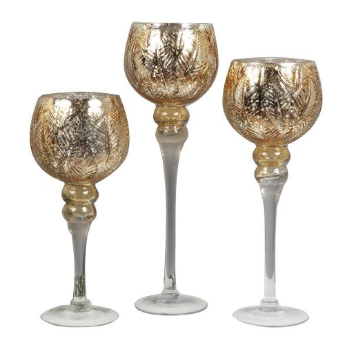 Set of 3 Large Gold Glass Goblet Style Candle Holders
